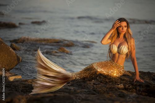 Obraz na płótnie Beautiful mermaid sitting on a rock