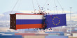 Russian and European Union flags crashed containers on blue sky background. 3d illustration