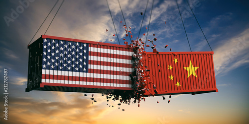 USA and China trade war Canvas Print