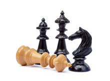 Old Chess Pieces Isolated On W...