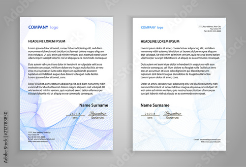 Fototapeta Letterhead template (printable business letter layout). Modern examples of corporate identity design pages. Company paper mockup image with guilloche lines. White background with official blue pattern obraz
