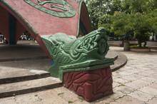 Sculptural Crocodile Corner Of The Kiosk In Bernabela Ramos Park In Santa Cruz, Costa Rica
