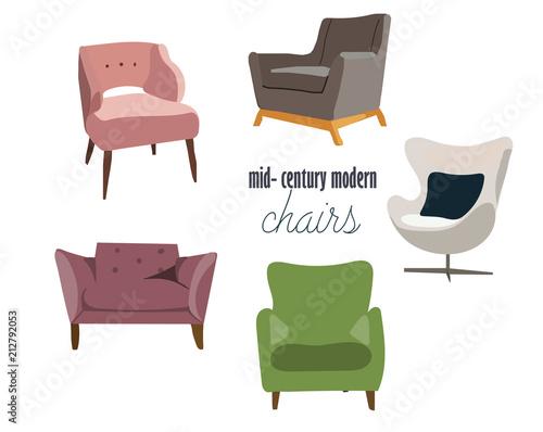 chairs set mid century modern interior design furniture elements