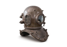 Old Deep Sea Diving Metal Helmet Isolated On White Background