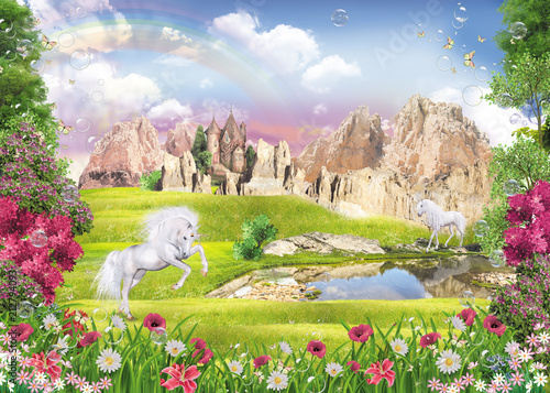 Deurstickers Zalm unicorns at the lake