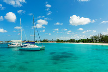 Catamarans On The Sunny Tropical Caribbean Island Of Barbados