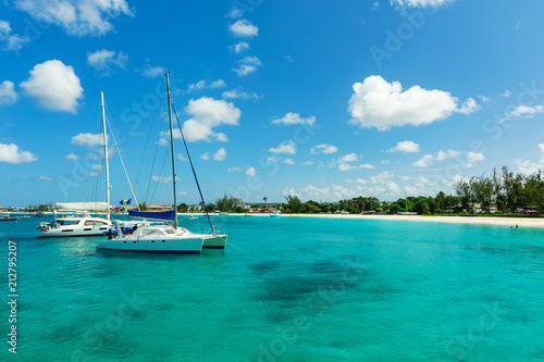 Fotografiet Catamarans on the sunny tropical Caribbean island of Barbados