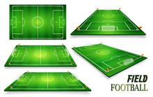 Football Field, Soccer Field Set. Perspective Vector Illustration. EPS 10. Room For Copy