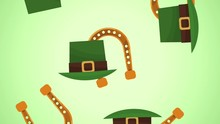 Elf Hats And Horshoes Falling Over Green Background High Definition Animation Colorful Scenes