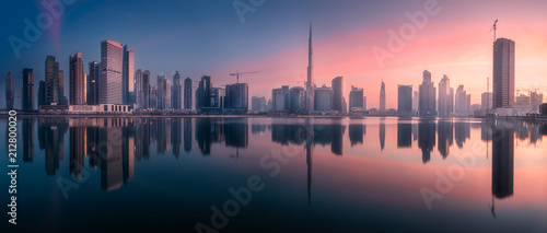 Valokuvatapetti Panoramic view of Dubai Business bay, UAE
