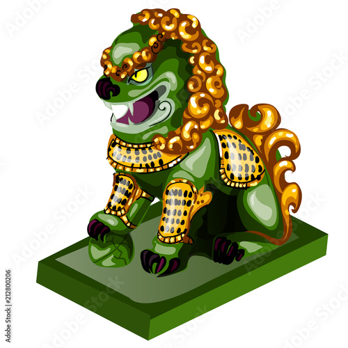 Fotografía  Lion figurine made of jade isolated on white background