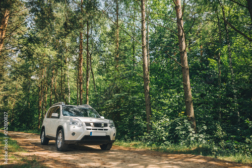 Obraz white suv in forest. car travel concept. lifestyle - fototapety do salonu