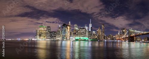 Fototapety, obrazy: Skyline of Manhattan from Brooklyn, night view