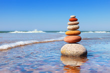 Rock Zen Pyramid Of Colorful P...