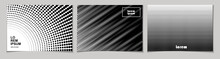 Set Of Horizontal Abstract Backgrounds With Halftone Pattern In Black And White Colors. Design Template Of Flyer, Banner, Cover, Poster. Vector Illustration