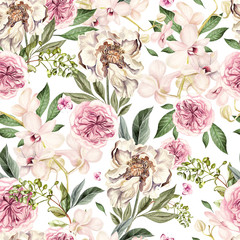 Panel Szklany Podświetlane Peonie Watercolor pattern with peony flowers and orchids.