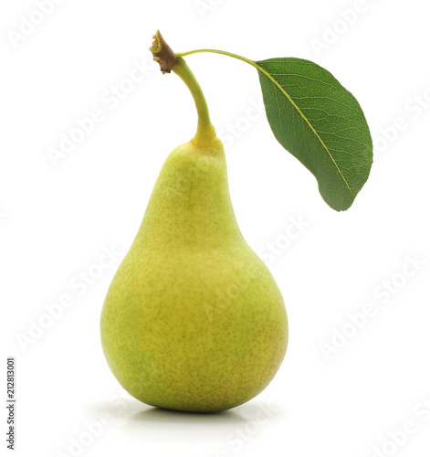 Green pear with leaf.