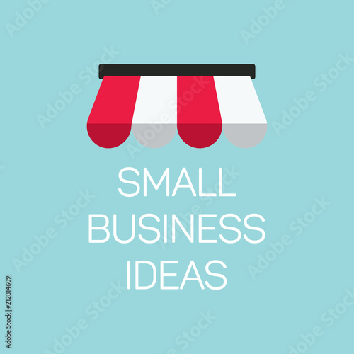 Fotografía flat concept small business illustration, local store banner on blue background