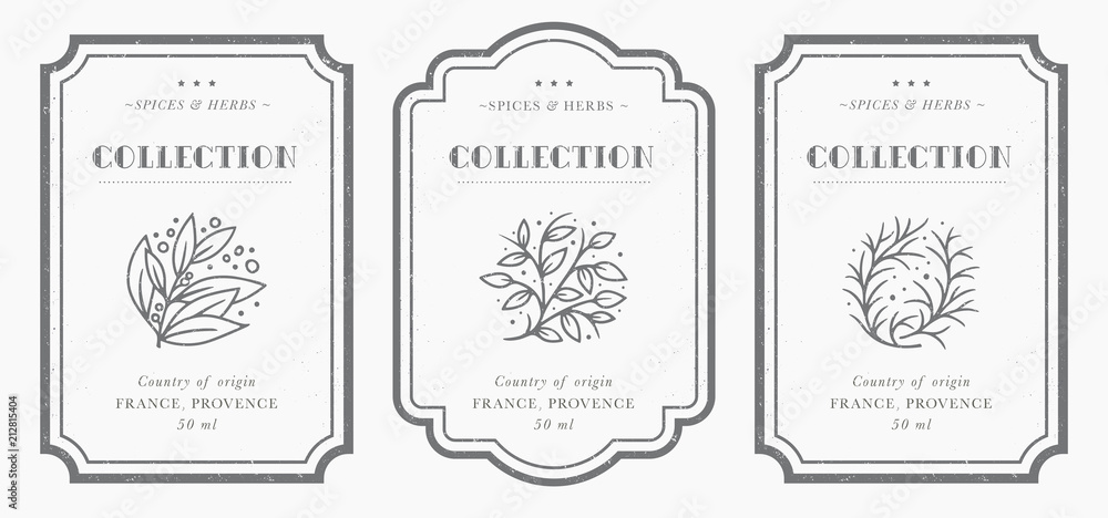 Fototapeta Customizable black and white Pantry label collection.