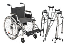 Wheelchair, Walking Frame And Crutches, 3D Rendering
