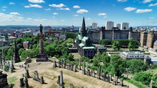 Aerial Image Over Glasgow Necropolis, A Victorian Garden Cemetery, And The Medieval Cathedral.