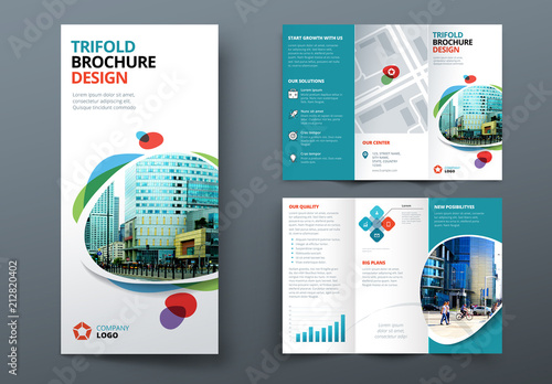 blue trifold brochure layout with abstract spots buy this stock