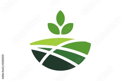 Fotomural plantation garden green hill logo
