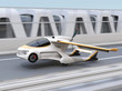 Futuristic flying car takes off from highway. Fast transportation without traffic jam concept. 3D rendering image.