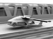 Clay shading rendering of futuristic flying car takes off from highway. 3D rendering image.