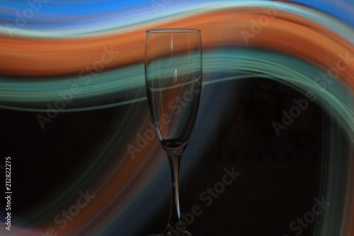 Fotografia, Obraz  Night photo of champagne glass with bright lights