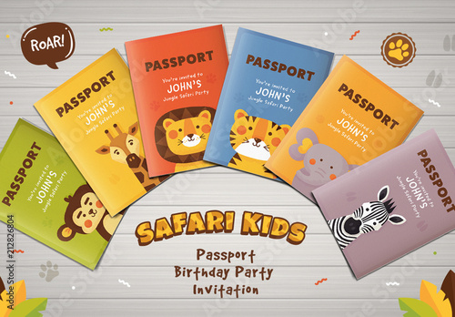 passport and safari animals birthday invitation layout buy this