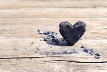 Burning Charcoal Heart On Wood...