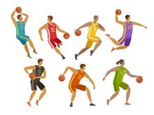 Basketball Players. Sport Concept. Cartoon Vector Illustration