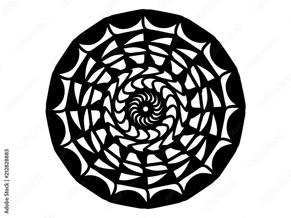 Black scale mandala on white background. Mandala with move illusion vector. Round stamp template.
