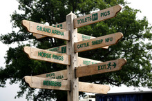 Wooden Sign In A Showground With Twelve Arms Pointing The Way To Various Attractions And Facilities