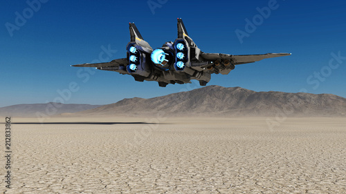 Fotomural Alien spaceship flying over a deserted planet with blue sky in the background, s