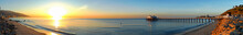 Panorama Of The South Side Of The Malibu Pier In California.