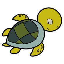 Cute Turtle Cartoon Illustrati...