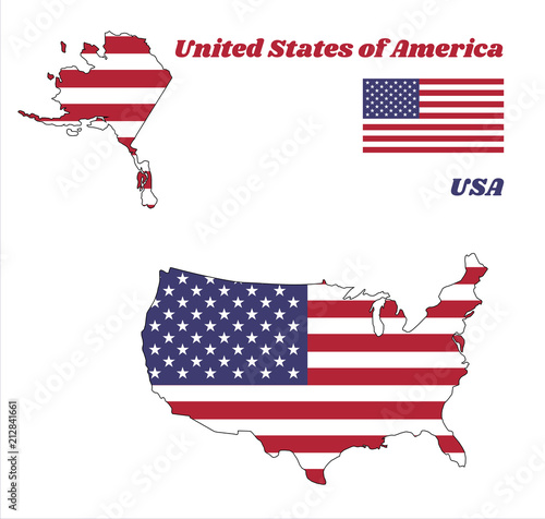 Map outline of USA, horizontal stripes of red and white with ...