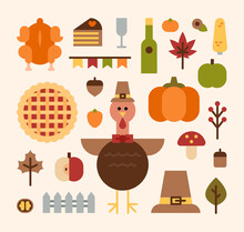 Autumn Thanks Giving Day Icons...