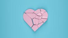 Shattered Pink Heart On Blue Background Pastel Colors 3D Render