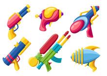 Cartoon Gun Collection. Flat V...