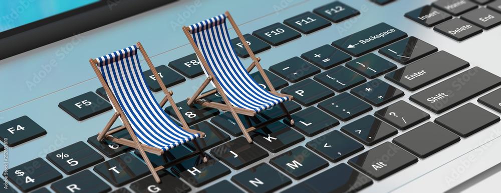 Fototapeta Deck chairs on a computer laptop, banner. 3d illustration
