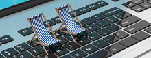 Deck Chairs On A Computer Laptop, Banner. 3d Illustration