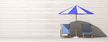 Summer Vacation. Beach Chairs And Umbrella On Wooden Wall Background, Banner. 3d Illustration