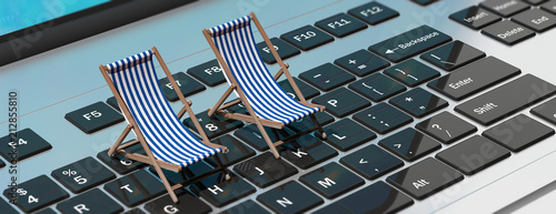 Fényképezés  Deck chairs on a computer laptop, banner. 3d illustration