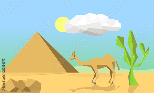 Foto op Plexiglas Turkoois Concept of travel camel travels outdoors. There are batons, perch and pyramids and single white cloud.