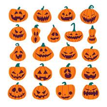 Set Of Halloween Scary Pumpkins. Flat Style Spooky Creepy Pumpkins