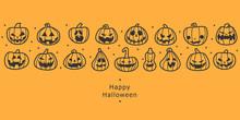 Happy Halloween Banners. Flat Designed Row Of Pumpkins