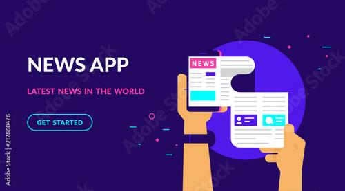 Online reading latest news  Flat vector neon website